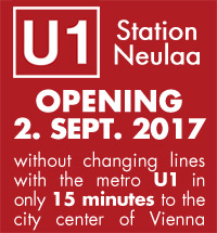 U1 Station Neulaa - without changing lines with the metro U1 in only 15 minutes to the city center of Vienna